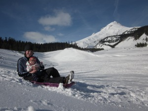 I got to take Marin on her very first sled ride! Just a short gentle little hill, no bumps.