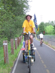"""Tall Bike Tim"" out for a political cruise"